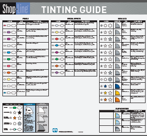 Shop-Line Refinish System Tint Guide Poster